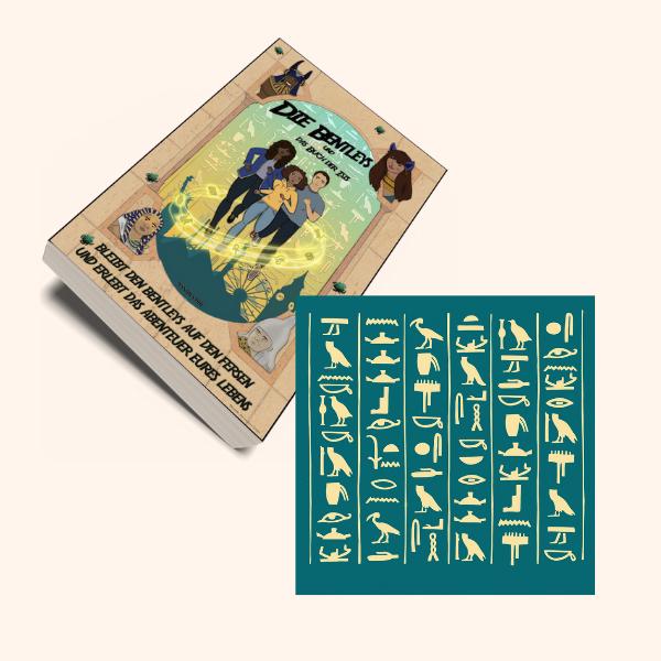 Die Bentleys - Taschenbuch mit deinem Namen im Buch als Hieroglyphen